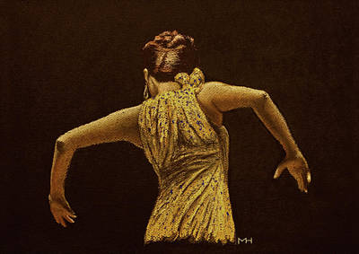 Drawing - Flamenco Dancer In Yellow Dress by Martin Howard