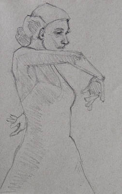 Drawing - Flamenco Dancer Minimalistic Sketch 1 by Jani Freimann