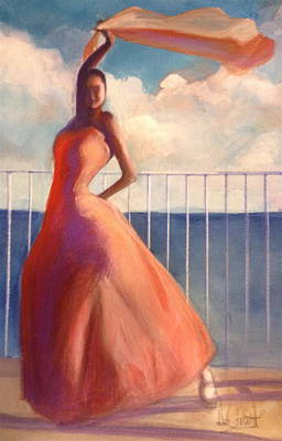 Painting - Flamenco Dancer Waving Scarf by Gregory DeGroat