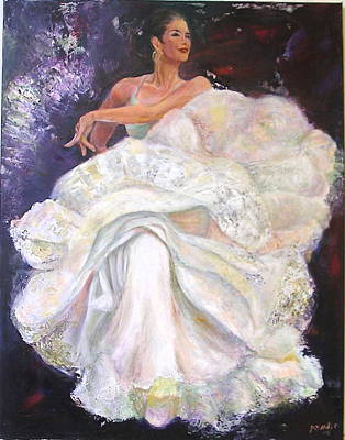 Painting - Flamenco Dancer White by Sylva Zalmanson