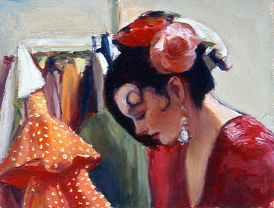 Dressing Room Digital Art - Flamenco Dancer With Roses In Her Hair  by Susanne Forestieri