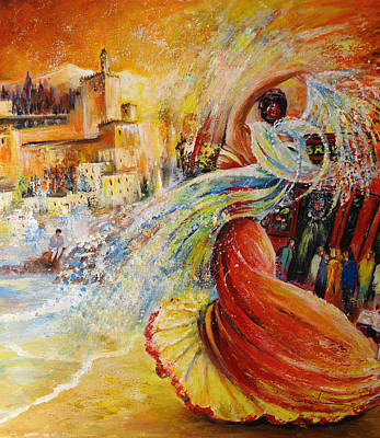 Painting - Flamenco In Granada by Miki De Goodaboom