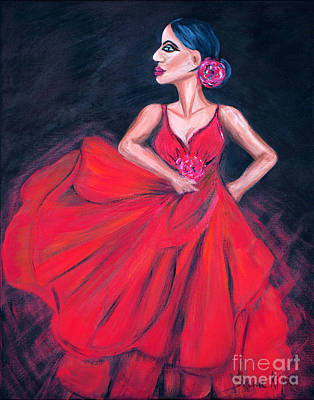 Painting - Flamenco. Woman In Red Dress by Oksana Semenchenko