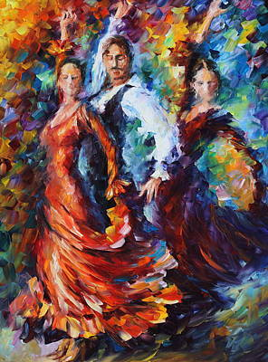 Latin American Painting - Flamenco Trio by Leonid Afremov