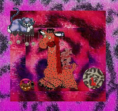 Flamenco Mixed Media - Flamenco Unicorn And Her Cat by Pepita Selles