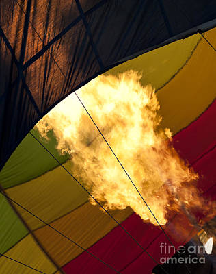 Flames Burst Out As A Hot Air Balloon Is Being Inflated Art Print