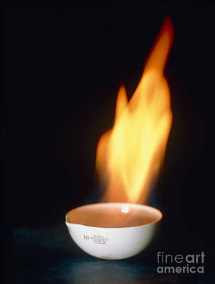 Crucible Photograph - Flames From Petrol Burning In A Crucible by Martyn F. Chillmaid