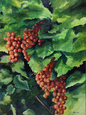Grape Vine Painting - Flames In The Vineyard by Maria Hunt