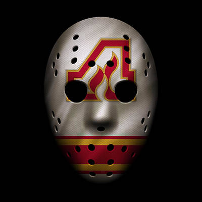 Atlanta Iphone Cases Photograph - Flames Jersey Mask by Joe Hamilton