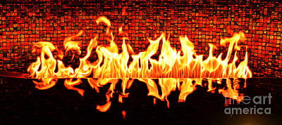 Digital Art - Flames Of A Modern Fireplace Reflected In A Water Feature Accented Edges Digital Art by Shawn O'Brien