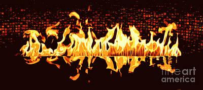 Digital Art - Flames Of A Modern Fireplace Reflected In A Water Feature Cutout Digital Art by Shawn O'Brien