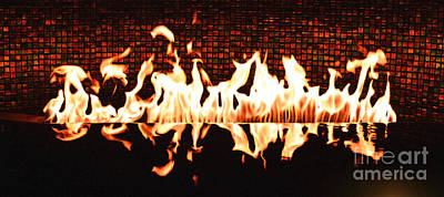 Digital Art - Flames Of A Modern Fireplace Reflected In A Water Feature Diffuse Glow Digital Art by Shawn O'Brien