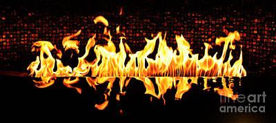 Digital Art - Flames Of A Modern Fireplace Reflected In A Water Feature Fresco Digital Art by Shawn O'Brien
