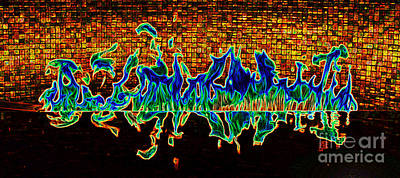 Digital Art - Flames Of A Modern Fireplace Reflected In A Water Feature Glowing Edges Digital Art by Shawn O'Brien