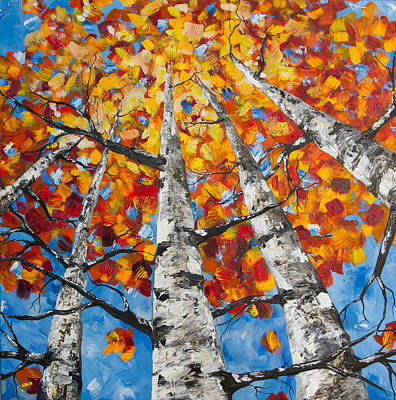 Painting - Flaming Aspens by Melinda Cummings