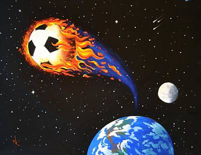 Painting - Flaming Balls #3 Soccer by Thomas Kolendra