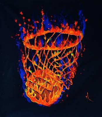 Basket Ball Painting - Flaming Basket by Thomas Kolendra