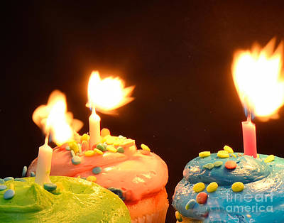 Flaming Cake Art Print by Timothy OLeary