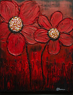 Painting - Flaming Daisy by Kathy Sheeran