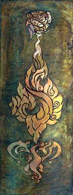 Mixed Media - Flaming Dragon Rose Panel by Shahna Lax