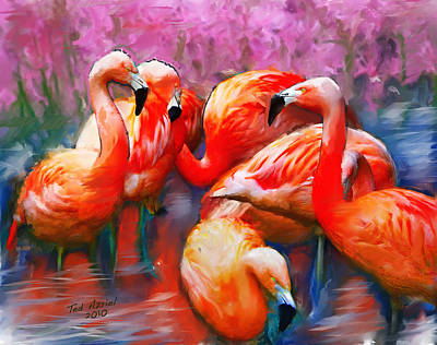 Art Print featuring the painting Flaming Flamingos by Ted Azriel