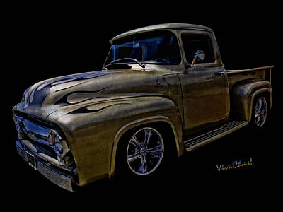 Cobra Photograph - Flaming Ford Pickup Street Rod In A Tunnel At Midnight by Chas Sinklier