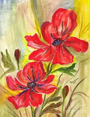 Flaming Garden Flowers Print by Clementine Kondracki