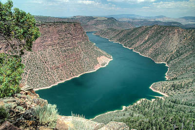 Looking Down Photograph - Flaming Gorge National Recreation Area In Utah. by Rob Huntley