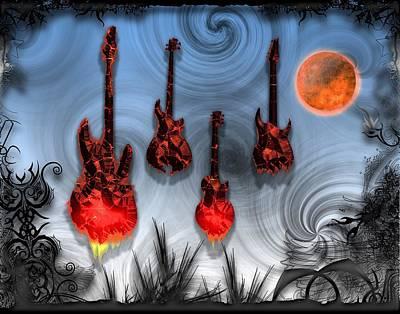 Digital Art - Flaming Guitars by Michael Damiani