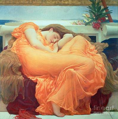 Silk Painting - Flaming June by Frederic Leighton