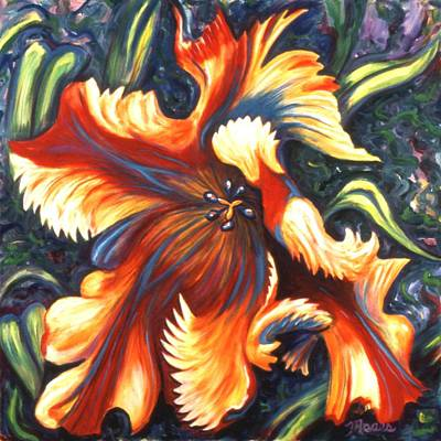 Red Flowers Painting - Flaming Parrot by Linda Mears