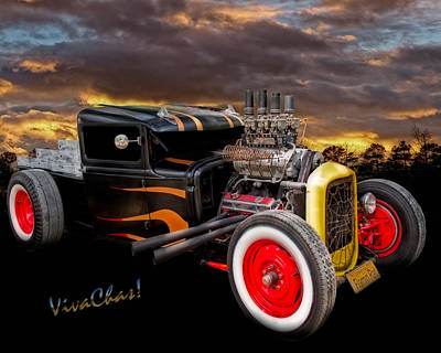 Ford Pickup Photograph - Flaming Rat Rod River Side Picnic by Chas Sinklier