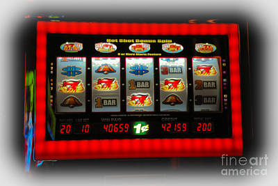 Flaming Sevens Slots Art Print by Gary Keesler