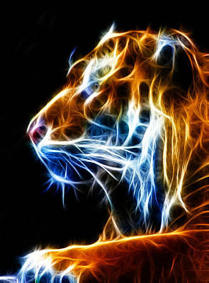 Tiger Fractal Photograph - Flaming Tiger by Shane Bechler