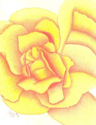 Flaming Yellow Rose Art Print by Dusty Reed