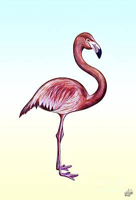 Mixed Media - Flamingo 1 by Walt Foegelle