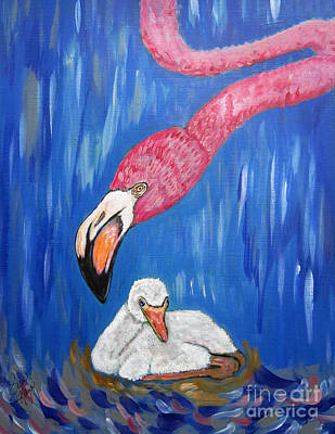 Greater Flamingos Painting - Flamingo An Expression Of Love  by Ella Kaye Dickey
