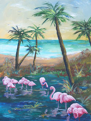 Flamingo Beach Art Print