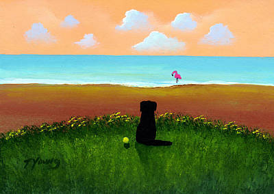 Newfie Painting - Flamingo Beach by Todd Young