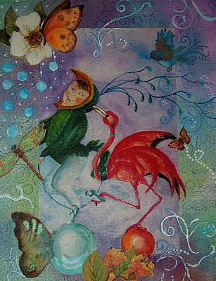Painting - Flamingo Circus And Friends by Tamyra Crossley