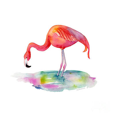 Birds Painting Rights Managed Images - Flamingo Dip Royalty-Free Image by Amy Kirkpatrick