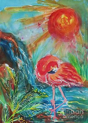 Waterscape Painting - Flamingo Dreams by Ellen Levinson