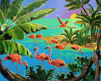 Flamingo Festivity Art Print by Jan Mecklenburg