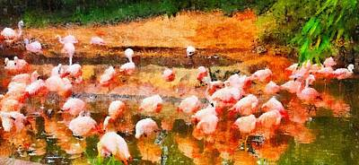 D. Wade Painting - Flamingo Gathering by Dan Sproul