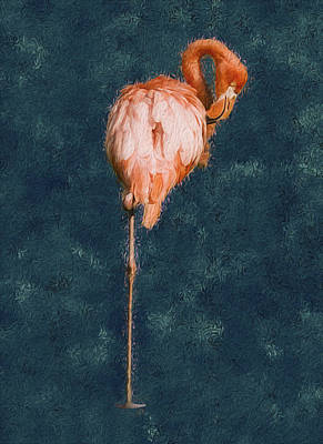 Spoonbill Wall Art - Painting - Flamingo - Happened At The Zoo by Jack Zulli