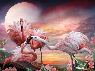 Mixed Media - Flamingo Kiss by Carol Cavalaris