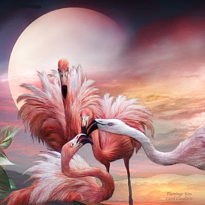 Mixed Media - Flamingo Kiss - Sq by Carol Cavalaris