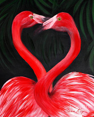 Painting - Love  Is... Flamingo Love. Inspirations Collection by Oksana Semenchenko