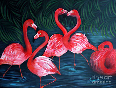 Painting - Flamingo Love. Inspirations Collection. Special Greeting Card by Oksana Semenchenko