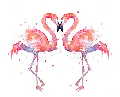 Bird Watercolor Painting - Flamingo Love Watercolor by Olga Shvartsur